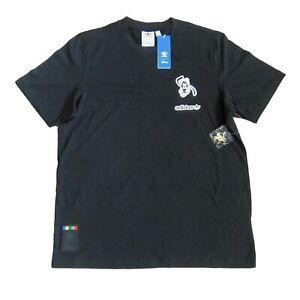 Disney x Adidas T-Shirt Goofy Black Short Sleeve w/ Pin Size Large Mens GD6024