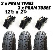 3 x Pram Tyres & 3x Tubes 12 1/2 X 2 1/4 Slick Quinny Freestyle Buzz Hauck Jeep