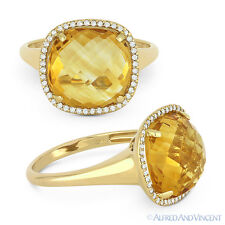 Cocktail Ring in 14k Yellow Gold 5.26ct Cushion Cut Citrine & Diamond Right-Hand