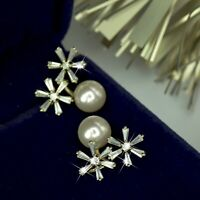 18k gold gf 925 silver made with Swarovski crystal pearl snowflake stud earrings