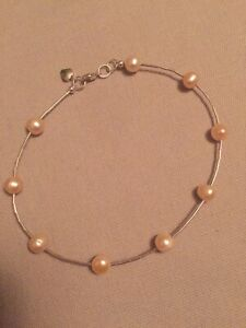 "Freshwater Pearls Anklet 10"" Long Sterling One-Of-A-Kind"