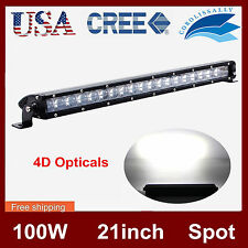 21inch CREE Slim Single Row 100W SPOT LED Light Bar 4D Optical Off-road Jeep HOT