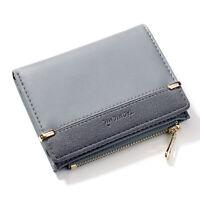 1x Blue Women Faux Leather Bifold Wallet Multi-Card Slots Cash Purse Coin Pocket