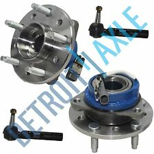 New 4 pc Kit: 2 Front Wheel Hubs and Bearings Assembly + (2) Outer Tie Rod w/ABS