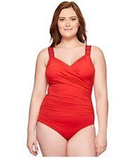 Jantzen Red Draped Surplice One Piece Swimsuit Tummy Control 24W Retail $120