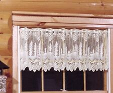 "Heritage Lace Pinecone White Country Scalloped Window Valance 60""x16"""
