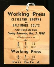 1948 AAFC Browns v Colts Press Ticket Unused 11/7/48 Cleveland Champs 24608