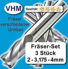 VHM Fräserset 2 - 3,175 - 4mm, Schaftfräser, Vollhartmetall, 3 Stk, f. GFK, MDF