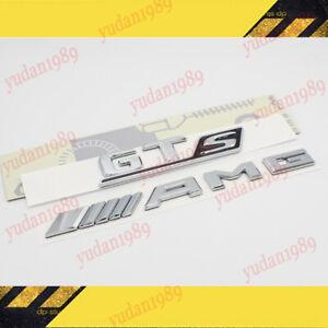 MERCEDES BENZ AMG GT C190 R190 CHROME SET GT S AMG LOGO BADGES EMBLEMS STICKER