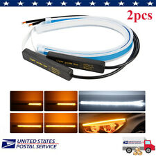 2PC 45CM LED DRL Light Amber Sequential Flexible Turn Signal Strip for Headlight