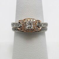 Elegant 14k Rose White Gold Diamond Engagement Ring Set (5029)