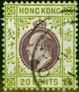 Hong Kong 1911 20c Purple & Sage-Green SG96 Fine Used