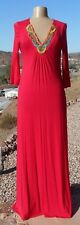 REDUCED Romeo & Juliet Couture Chinese Red Beaded V Neck Maxi Dress Sz M Rt $155