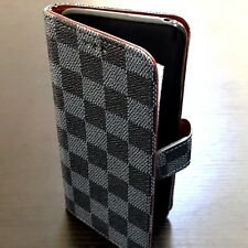 Samsung Galaxy Note 8 - Card Wallet Diary Pouch Case Blue Black Checker Plaids