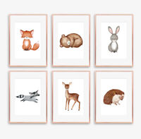 Woodland Animal Baby Nursery Art Prints Set Childrens Bedroom Wall Pictures Grey