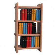Small Wooden Bookcase & Books, Dolls House Miniatures, 1.12 Scale, Study School