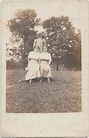 1912 DENVER Indiana Ind Real Photo RPPC Postcard Park Pose Man Women