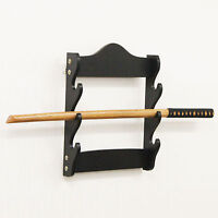 Wall Mounted 3 Tier Sword Display Rack Stand Holder Hanger Bracket Black Samurai