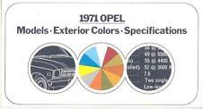 1971 Opel & GT Paint Colors Brochure mx1573-3IE822