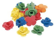 6 Colorful Extra Large Foam 3 D Flowers Rose 1 1/2""