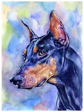 artav Doberman Pinscher Art Print of Watercolor Paint
