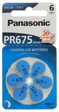6x Panasonic Worldwide PR675 PR44 Hörgerätebatterien 368 436 PR-675/6BL 1,4V