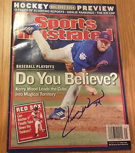 Kerry Wood Chicago Cubs signed Sports Illustrated 2003 SI NO LABEL PHOTO PROOF