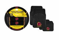 SET OF 2 BRISBANE BRONCOS NRL CAR STEERING WHEEL COVER + 4 FLOOR MATS