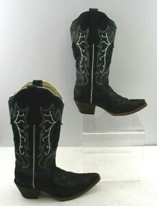 Ladies Tanner Mark Black Glitter Inlay Leather Cowboy Western Boots Size: 8