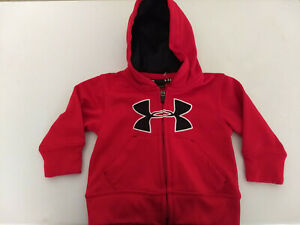 NEW Under Armour Full Zip Hoodie Youth 12 Months Boys RED Sweatshirt