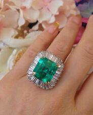 Ballerina Ring 10 ct Colombian Emerald Diamond 18k White Gold Over 925 Silver N