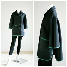 Vintage Black Chic Hunting Cape Coat | Classic Black Wool Blend Cape w Buttons