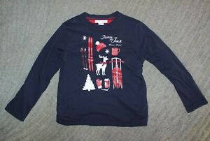 Janie and Jack Boys Long Sleeve Navy / Red Reversible T-Shirt - Size 6 - EUC