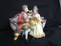 """Vintage Bisque Royal Crown Victorian Man and Woman Figurine 7-1/4"""" W"""
