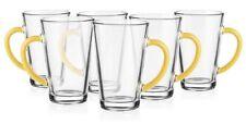 6 Latte Macchiato Gläser 300ml mit gelbem Henkel Teegläser Saftglas Kaffeegläser