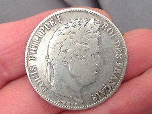1833 FRANCE LOUIS PHILIPPE SILVER (5) FRANC COIN NO RESERVE!