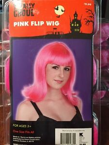 NIP Women's Pink Flip Wig Totally Ghoul Cosplay Halloween Role Playing