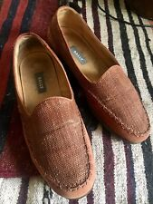 Bally Slipper Loafers, Brown Canvas Slip ons, Made in Italy, 9.0 D