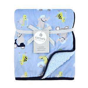 NWT Carters Elephants Alligators Scooters Cars Blue Velour Sherpa Baby Blanket