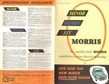 1951 MORRIS MINOR OXFORD SIX  FOLD OUT BROCHURE ORIGINAL VINTAGE