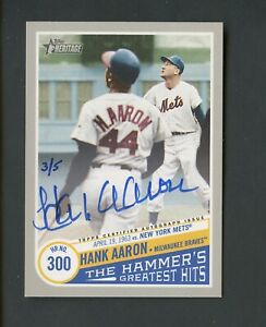 2019 Topps Heritage Real One Hammer's Greatest Hits Hank Aaron Signed AUTO 3/5