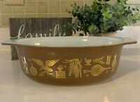 Vintage Pyrex 1 1/2 Quart Early American Oval Casserole Dish 043 Brown Gold