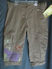 Da-Nang Surplus cotton Embroidered Cargo Cocon Shorts Capri Pants SZ M NWT