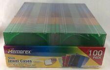 Memorex 100 Pack Multi Color Slim Jewel Cases With Inserts