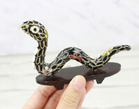 1970s Chinese Handmade Enamel Cloisonne Mininature Snake Figurine Collectibles