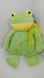 Animal Alley plush Frog Yellow green striped scarf  Toys r Us