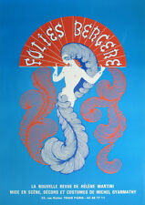 """Vintage French """"Folies Bergere - Blue"""" Reproduction Poster, Home Wall Art, Print"""