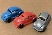 1960s car lot Bug Beetle plastic Hong Kong vintage mini red blue silver dime toy