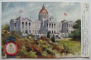 Harrisburg Pennsylvania Capitol Seal Postcard 1908 Tuck