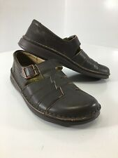 Birkenstock Mens L11M9 Leather Closed Toe Buckle Strap Sandals Brown US:9 NEW @